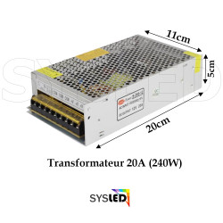 LE154 Transformateur Metal 12 V 20A sans cable