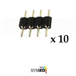 LE100 Un sachet de 10 pièces connecteur male male 4 broches pour 5050 et 3528