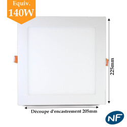 Downlight LED carré extra plat 18W blanc