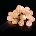 Guirlande LED 2,5 mètres 20 boules aspect coton en blanc chaud