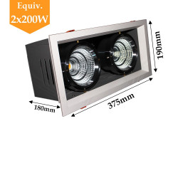 Projecteur 2 X 20W orientable blanc neutre