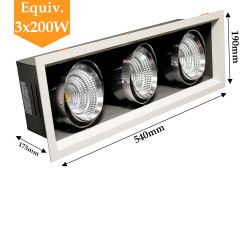 Projecteur 3 X 25W orientable blanc neutre