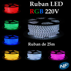 Kit Ruban LED 5050 Professionnel 25 ou 50 Mètres RGB Étanche (IP68) avec Controleur 220V