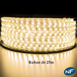 Ruban LED 5050 en 25 mètres Blanc Chaud étanche (IP68