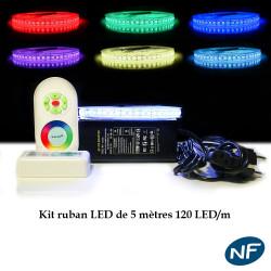 NOUVEAU Kit ruban Professionnel 5050 - 120 LED/m - 5 mètres RGB étanche (IP68) avec contrôleur et transformateur