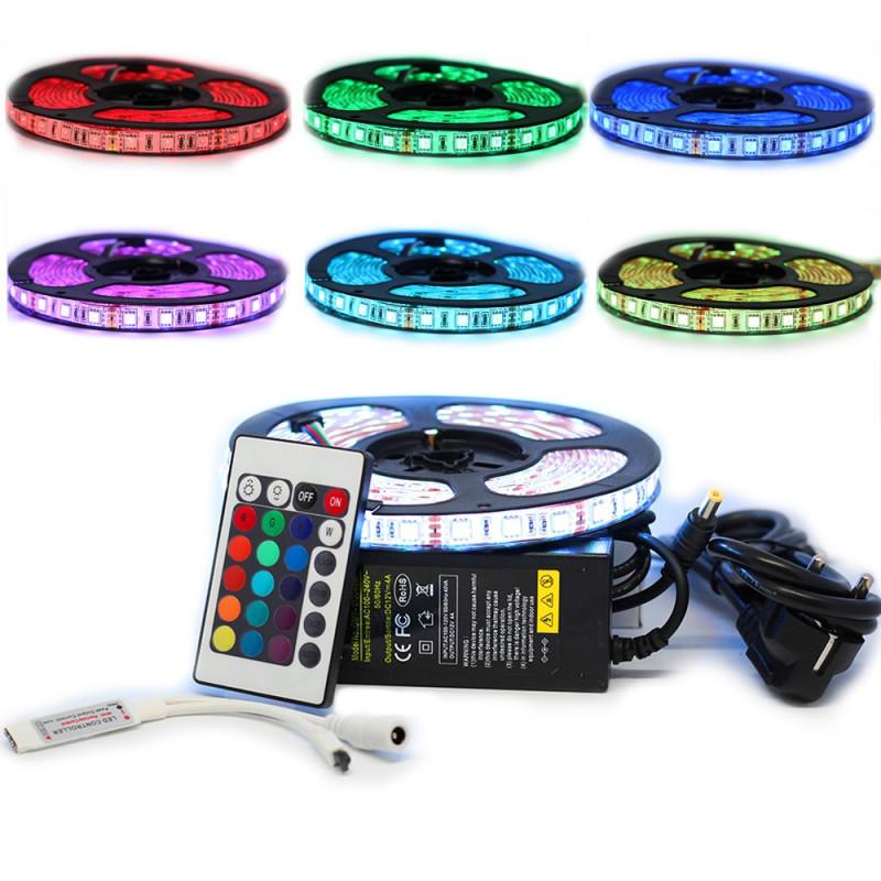 Kit Ruban LED 5050 Professionnel 5 Mètres RGB pour intérieur (IP65) avec Controleur Télécommande et Tranformateur 4A