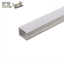 Profilé aluminium 5 Mètres encastrable ( 5 x 1 mètre ) 20mm*15mm avec diffuseur opaque aspect néon.