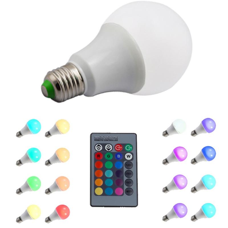Ampoule E27 RGB 10W avec télécommande