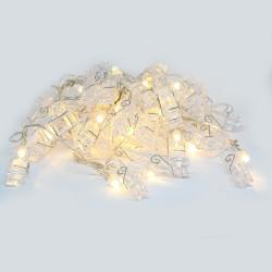 Guirlande LED de 5 mètres avec 40 pinces à linges transparentes blanc chaud