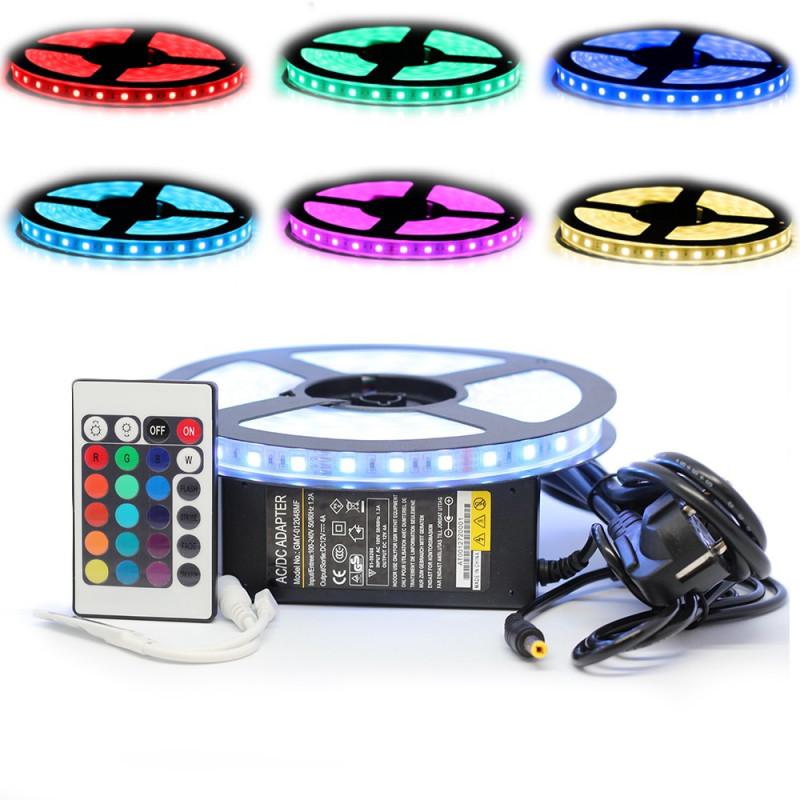 Kit Ruban LED 5050 IP68 Professionnel 5 Mètres RGB Étanche avec Télécommande