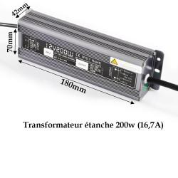 Alimentation étanche 12 V/200 Watt pour ruban LED