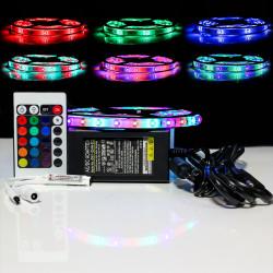 Kit Ruban LED 3528 Professionnel 5 Mètres RGB Étanche avec Controleur Télécommande et Alimentation