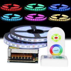 Kit Ruban LED 5050 Professionnel 10 Mètres IP68 RGB Étanche avec Controleur Télécommande radio et Tranformateur Metal 10A