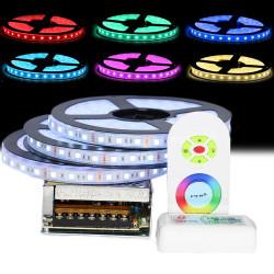 Kit Ruban LED 5050 Professionnel 15 Mètres IP68 RGB Étanche avec Controleur Télécommande radio et Tranformateur Metal 15A
