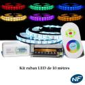 Kit Ruban LED 5050 Professionnel 10 Mètres RGB Étanche avec  Controleur Télécommande radio et Tranformateur Metal 10A