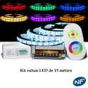 Kit Ruban LED 5050 Professionnel 15 Mètres RGB Étanche avec Controleur Télécommande radio et Tranformateur Metal 15A
