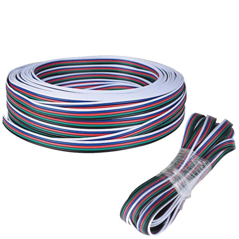 Câble de 5 mètres pour ruban 12V RGBW de 0,75mm² d'épaisseur