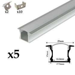 Profilé aluminium 5 Mètres encastrable ( 5 x 1 mètre ) avec diffuseur opaque