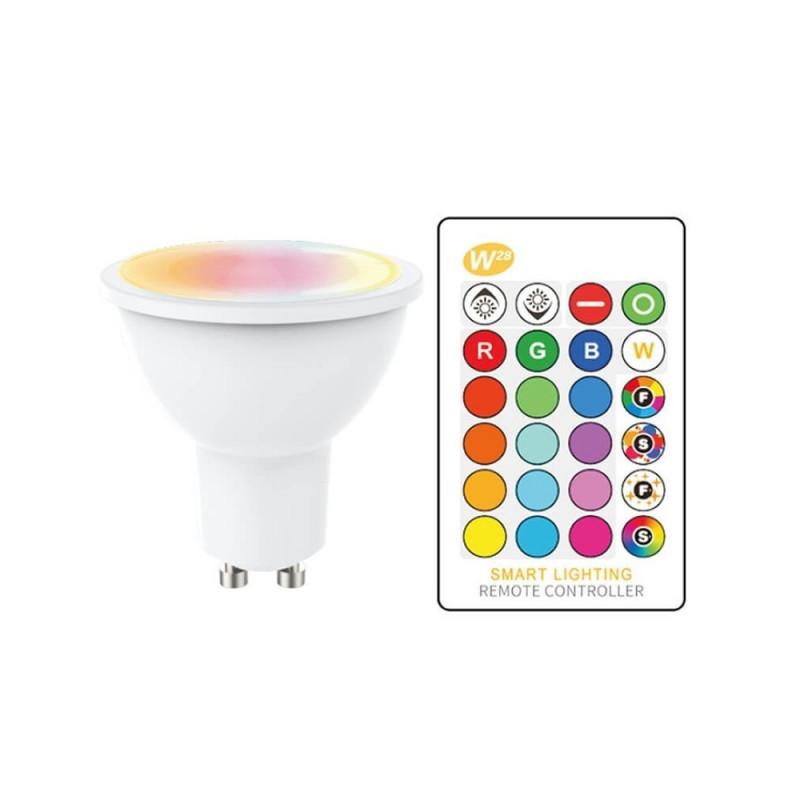 GU10 LED RGB+W 5W avec Télécommande