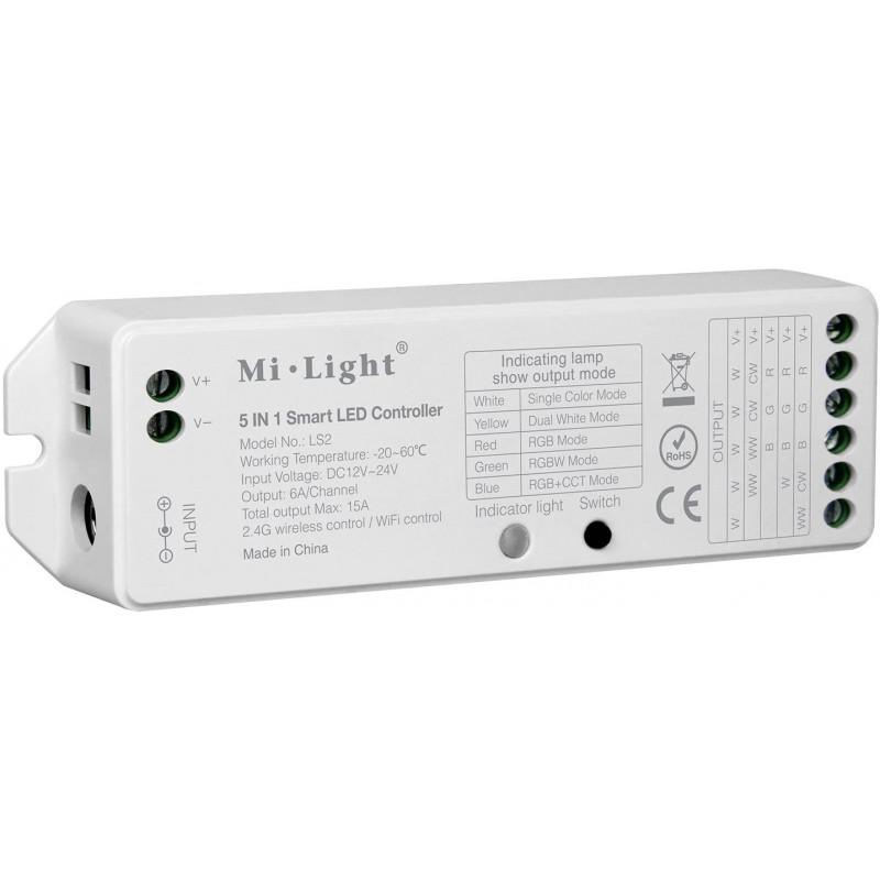 Contrôleur Alexa google home de bande LED smart 5 en 1, contrôler par smartphone, pour RGB, RGBW et RGB + CCT, DC12V / 24V