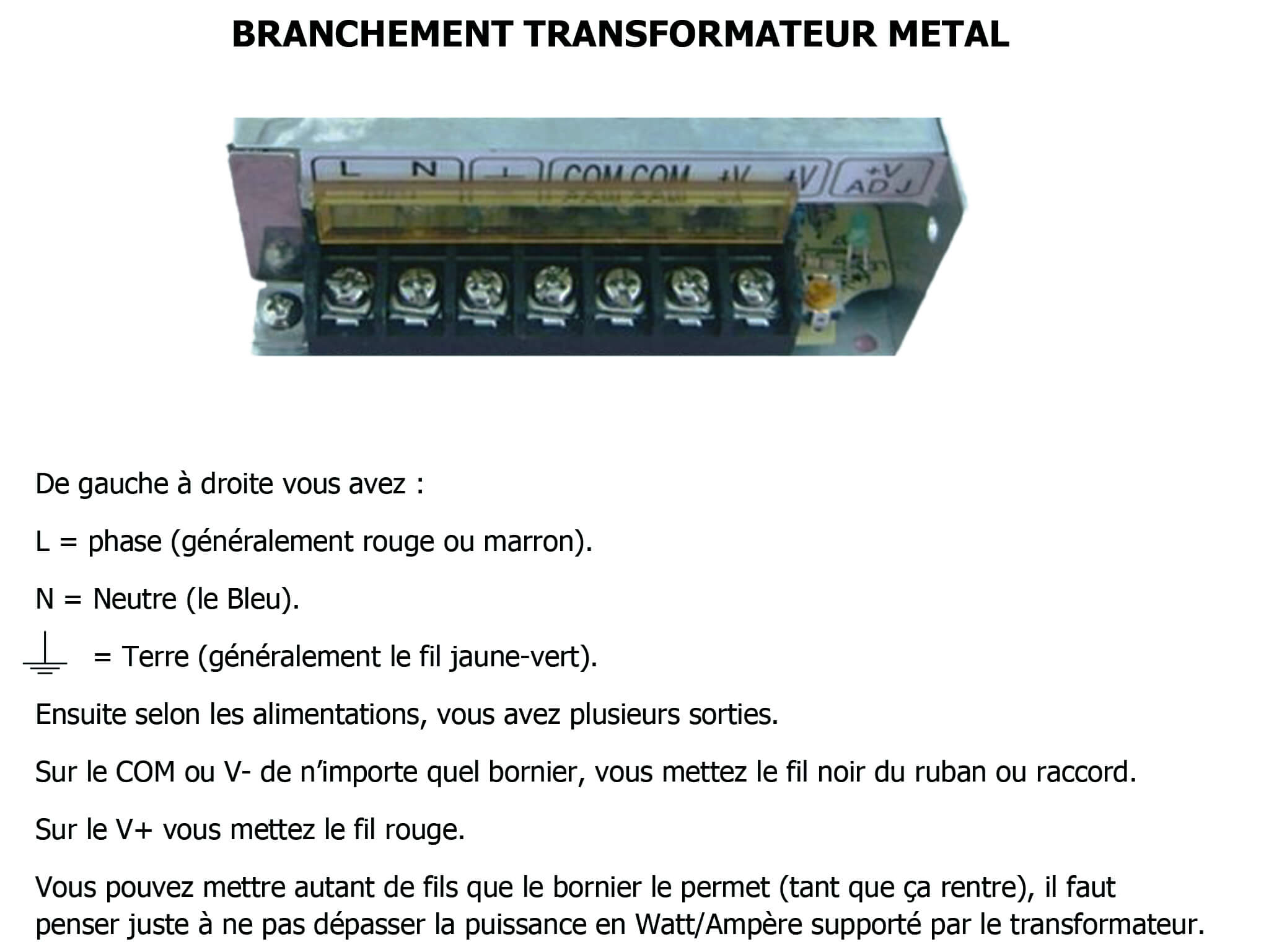 Branchement transformateur metal